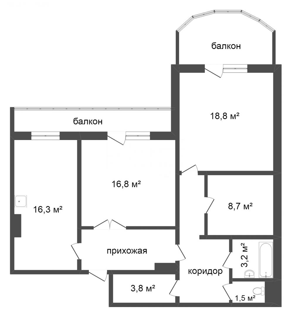 Продажа 3-комнатной квартиры, Красноярск, Ярыгинская набережная,  33
