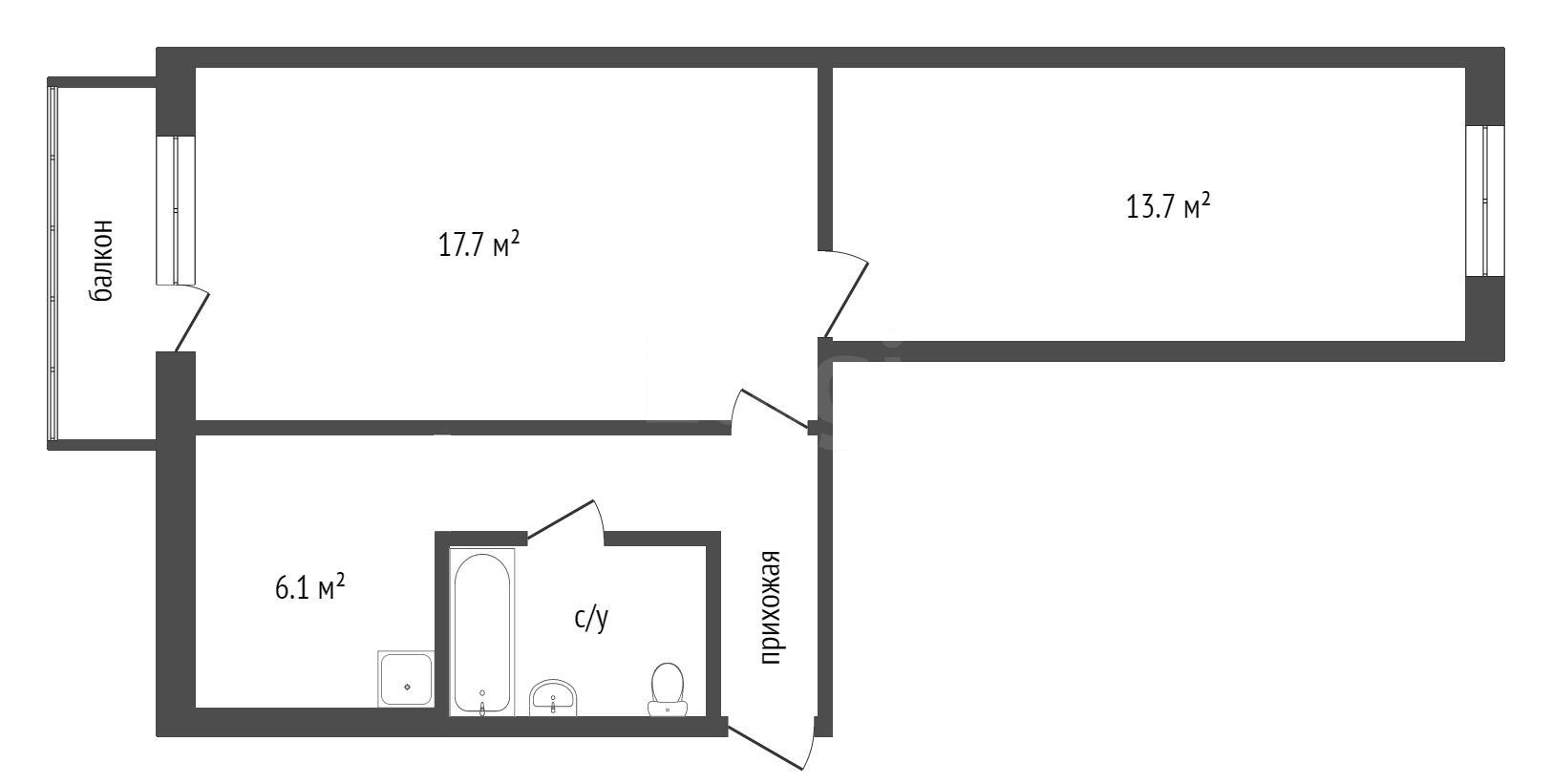 Продажа 2-комнатной квартиры, Красноярск, Воронова,  5