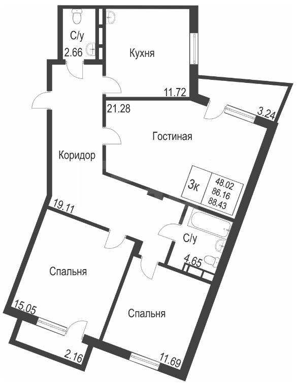 Продажа 3-комнатной новостройки, Красноярск, Петра Ломако,  ЖК