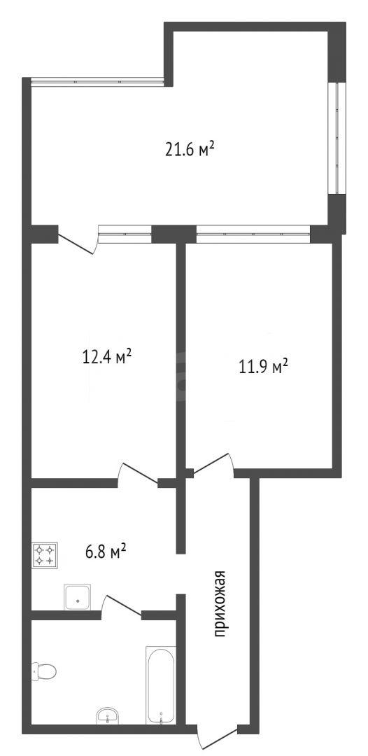 Продажа 2-комнатной квартиры, Красноярск, Вильского,  12