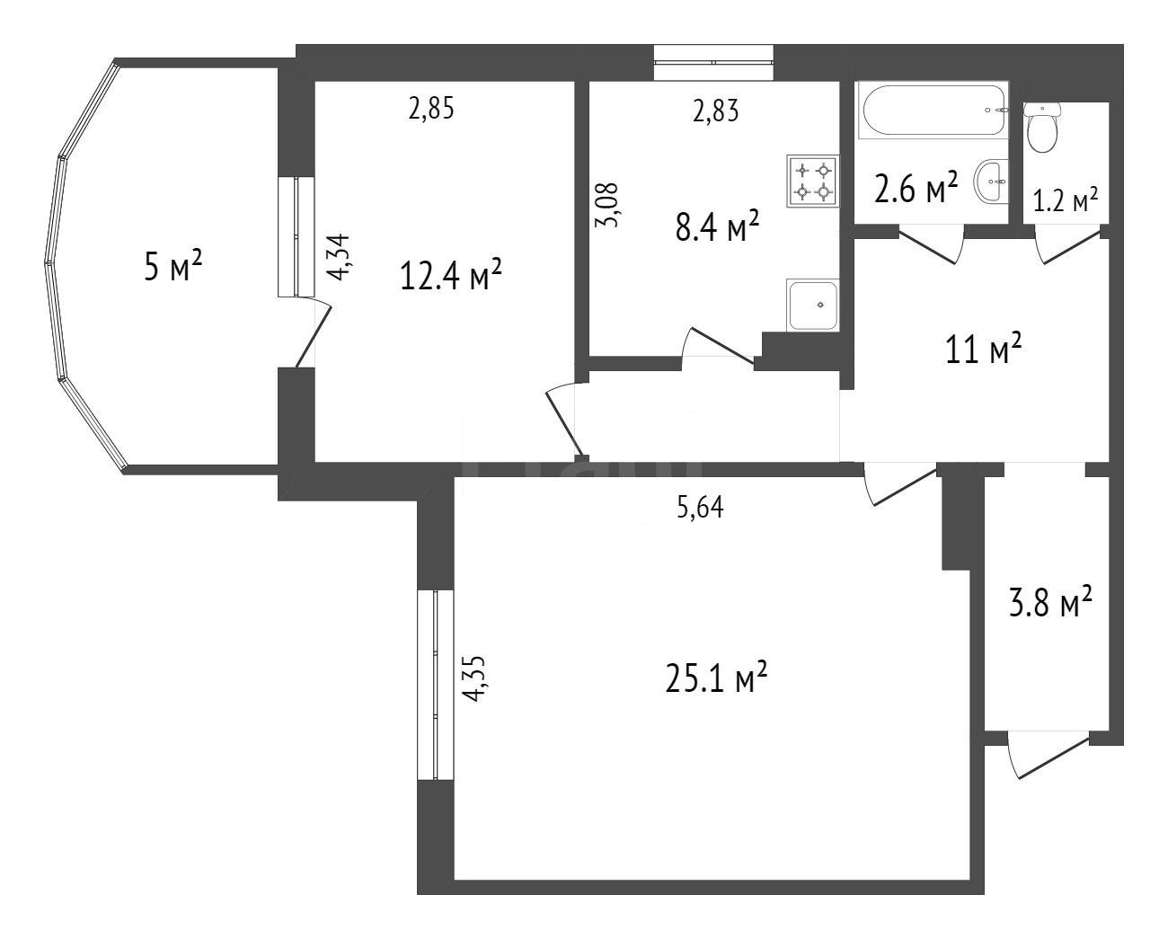 Продажа 2-комнатной квартиры, Красноярск, Академика Киренского,  69