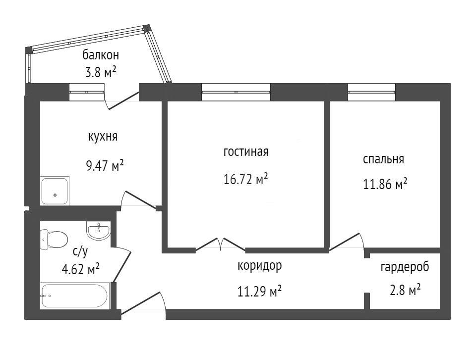 Продажа 2-комнатной новостройки, Красноярск, Петра Ломако,  ЖК