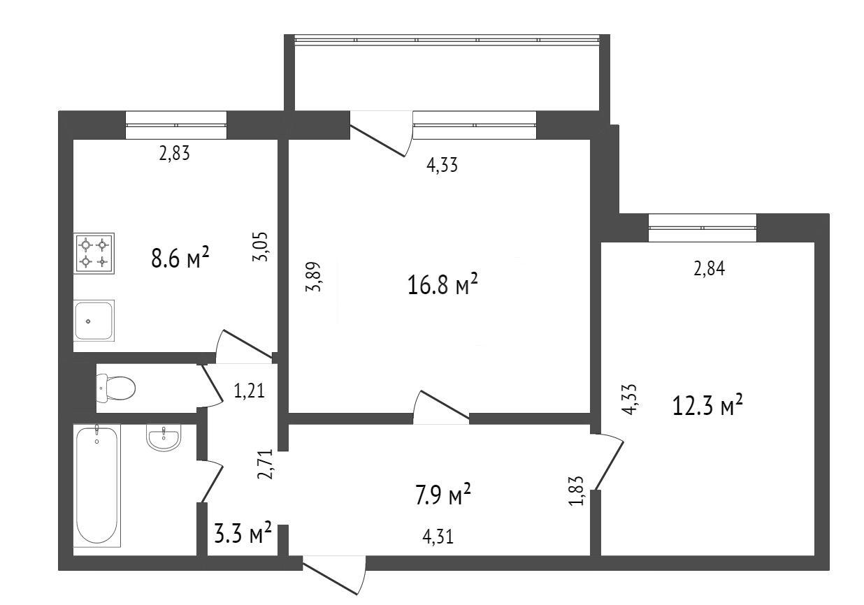 Продажа 2-комнатной квартиры, Красноярск, Урванцева,  6а