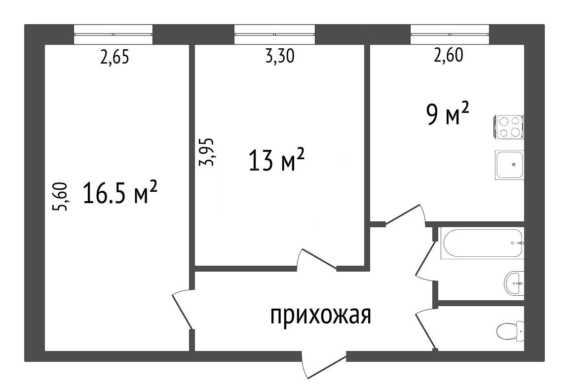 Продажа 2-комнатной квартиры, Красноярск, Чайковского,  7