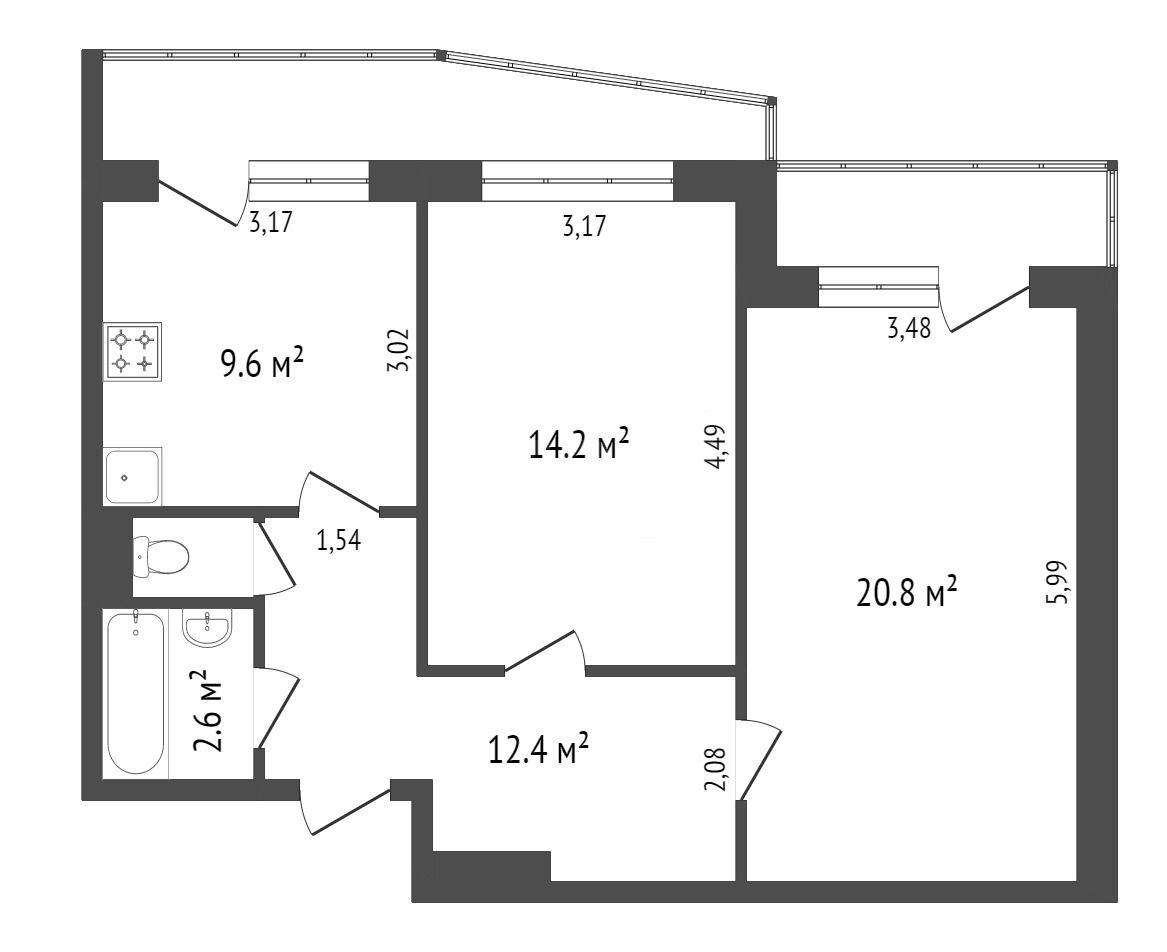 Продажа 2-комнатной квартиры, Красноярск, 60 лет образования СССР пр-т,  26и