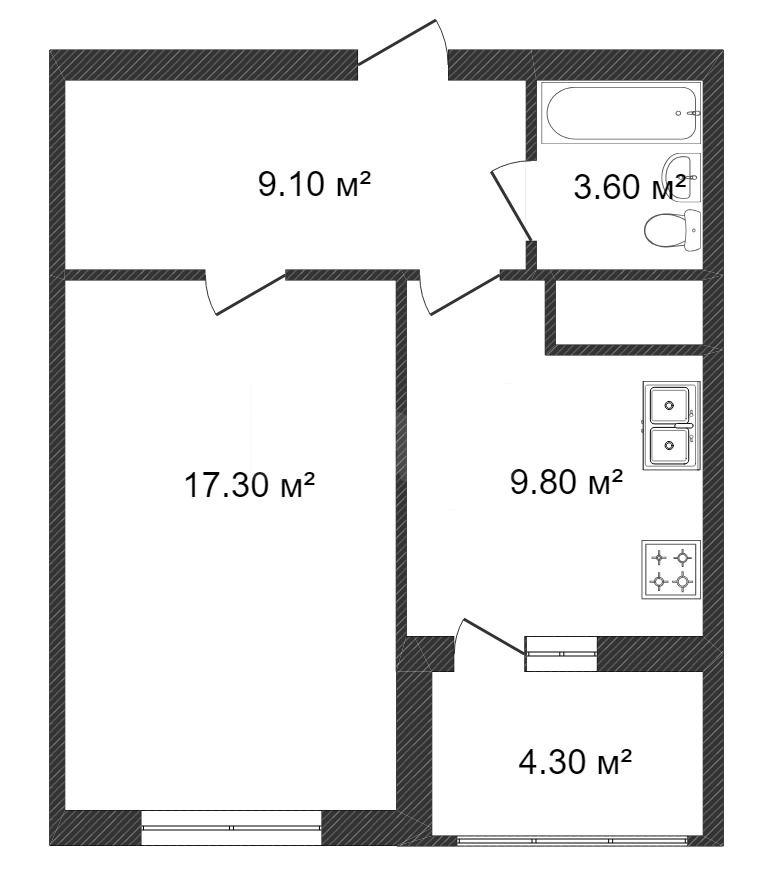 Продажа 1-комнатной квартиры, Красноярск, Батурина,  40