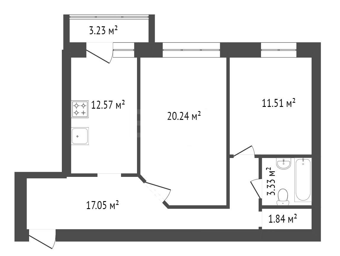 Продажа 2-комнатной квартиры, Красноярск, Мира пр-т,  105б