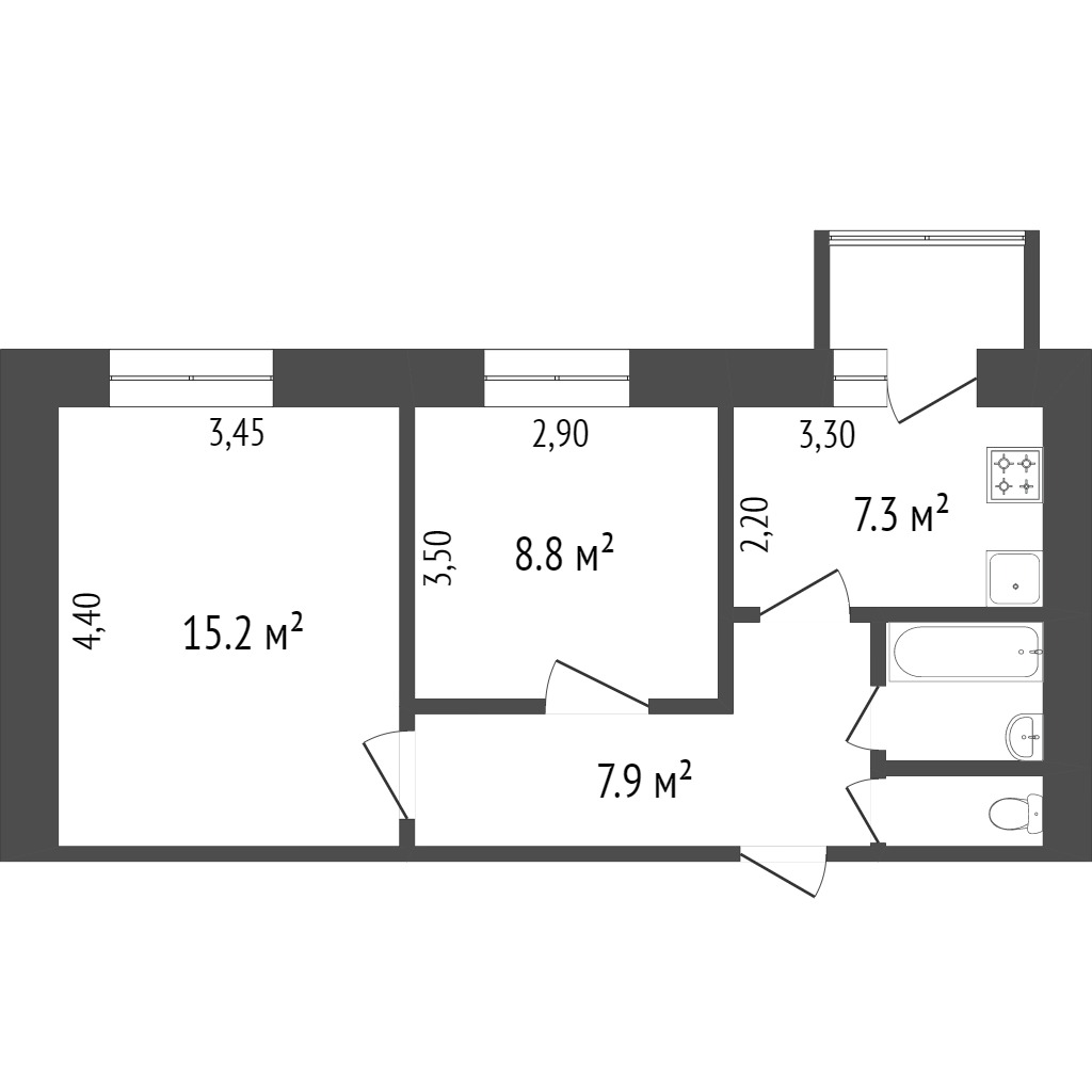 Продажа 2-комнатной квартиры, Красноярск, Комсомольский пр-т,  23