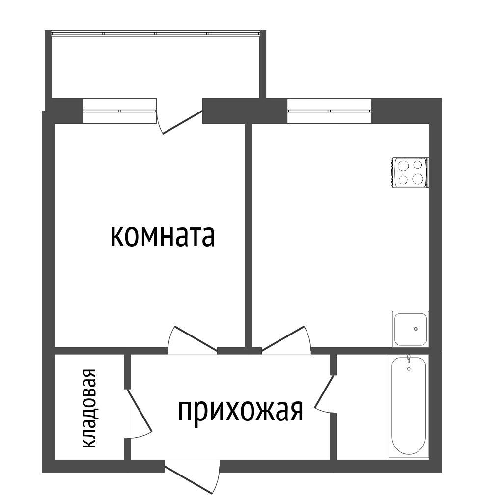 Продажа 1-комнатной квартиры, Красноярск, Светлогорская,  21