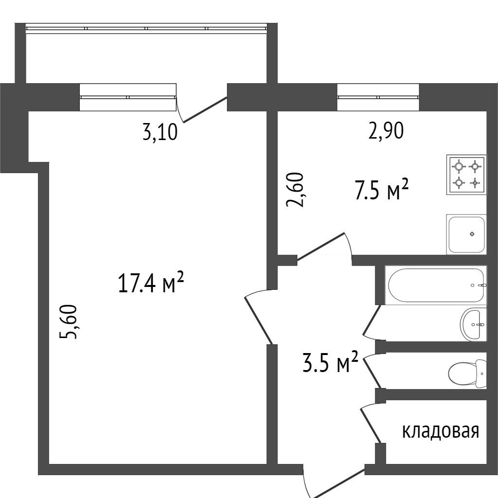 Продажа 1-комнатной квартиры, Красноярск, Металлургов пр-т,  1д