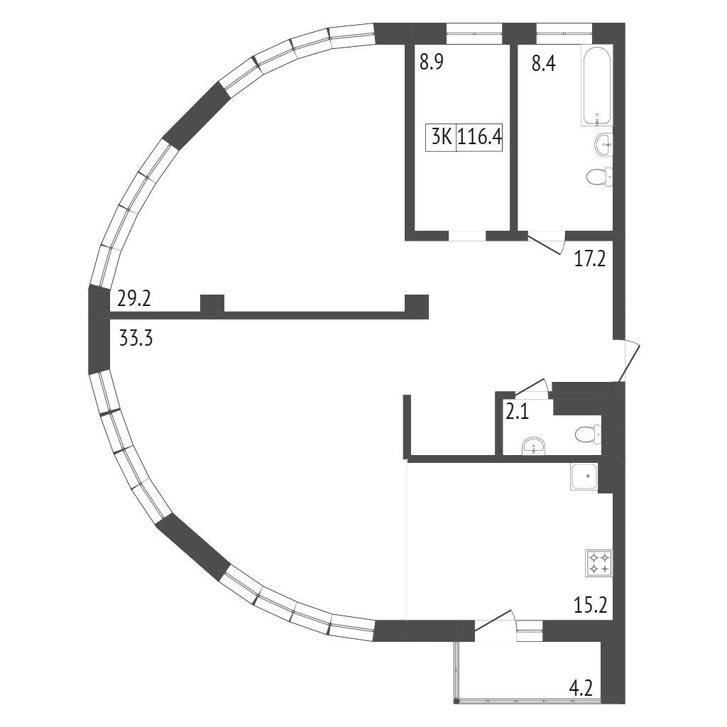 Продажа 3-комнатной новостройки, Красноярск, Ленина,  Адмирал д. 1
