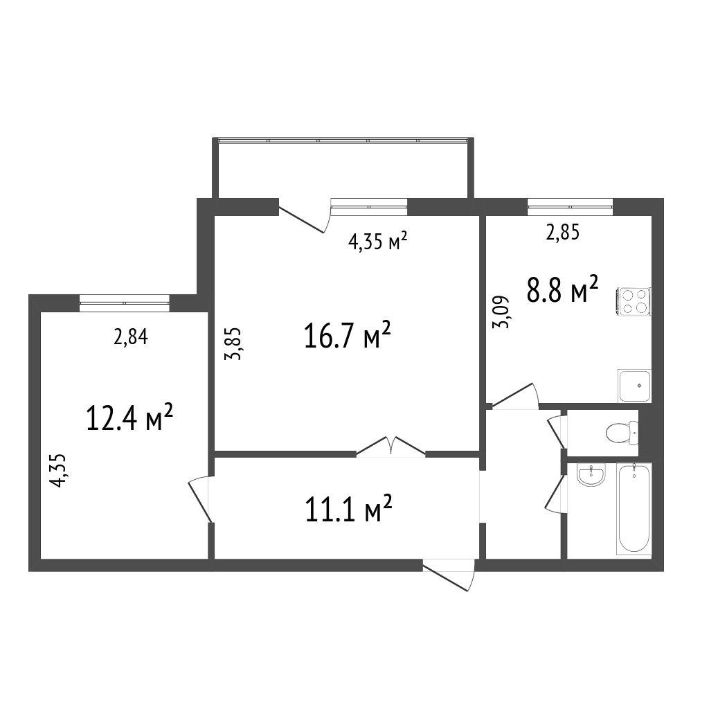 Продажа 2-комнатной квартиры, Красноярск, 9 Мая,  58